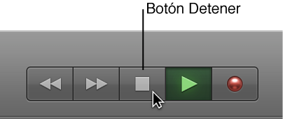 Ilustración. Botones de transporte con el botón Detener seleccionado.