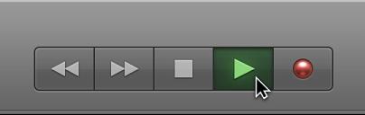 Ilustración: botones de transporte con el botón Reproducir seleccionado.