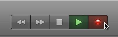 Ilustración. Botones de transporte con el botón Reproducir seleccionado.