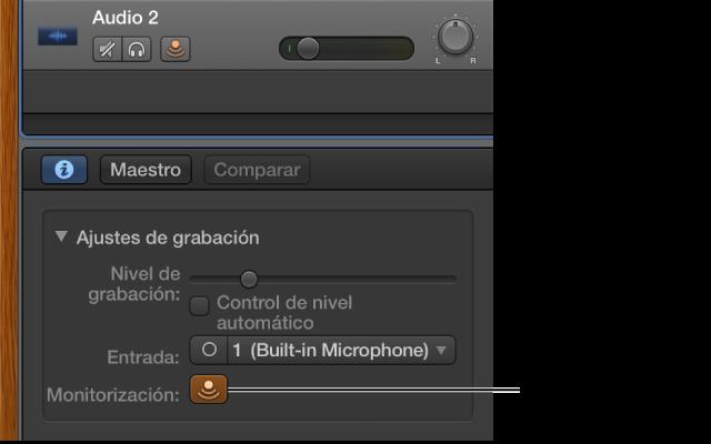 """Ilustración. Botón """"Monitorización de entrada"""" en el inspector de Smart Controls."""