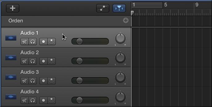 Ilustración. Se está seleccionando la cabecera de una pista de audio.