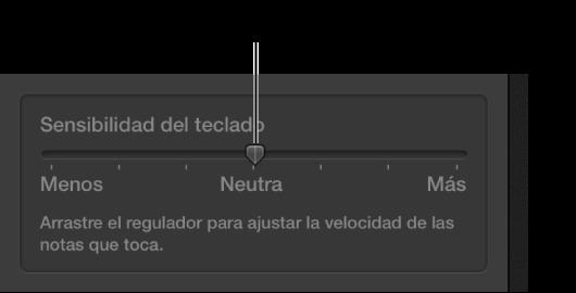 """Ilustración. Regulador """"Sensibilidad del teclado"""" en el inspector de Smart Controls."""
