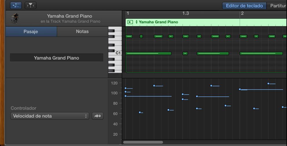 """Ilustración. Área """"Dibujo MIDI"""" en el editor de teclado"""