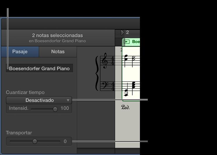 Ilustración. Inspector del editor de partituras en el modo Pasaje, con controles