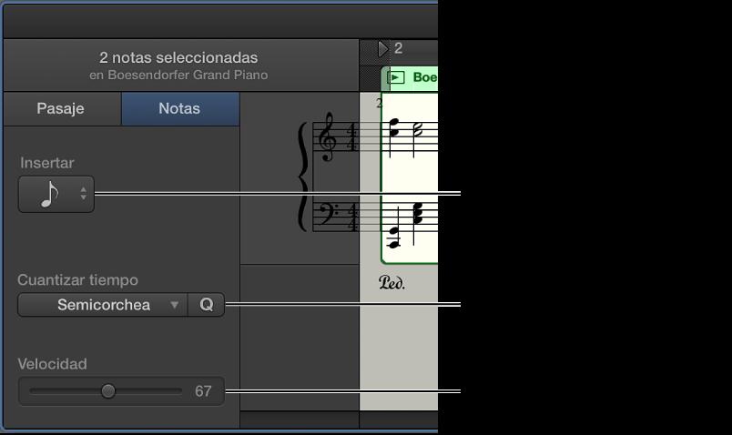 Ilustración. Inspector del editor de partituras en el modo Notas, con controles