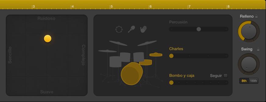 Ilustración. Editor de batería con los controles de interpretación