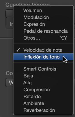 """Ilustración. Menú desplegable """"Dibujo MIDI"""" que muestra los tipos de controlador"""