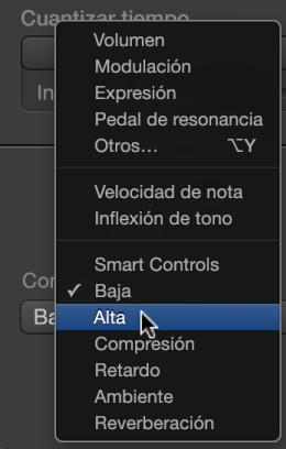 """Ilustración. Menú desplegable """"Dibujo MIDI"""" que muestra los tipos de Smart Controls."""