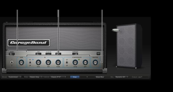 Ilustración. Ventana de Bass Amp Designer en la que se ven distintas áreas de control.