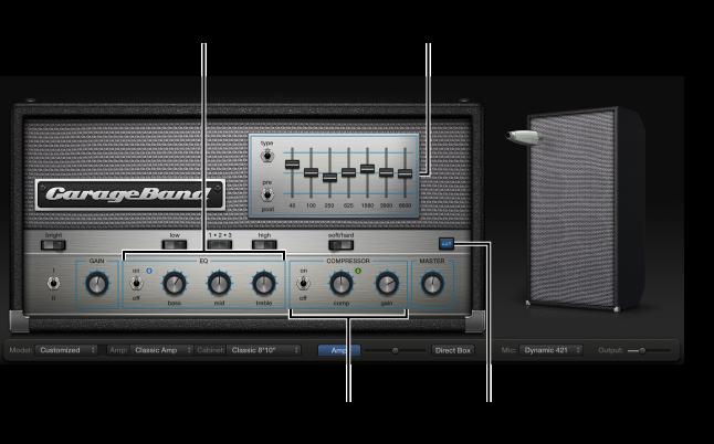 Ilustración. Bass Amp Designer con los controles EQ y Compressor.