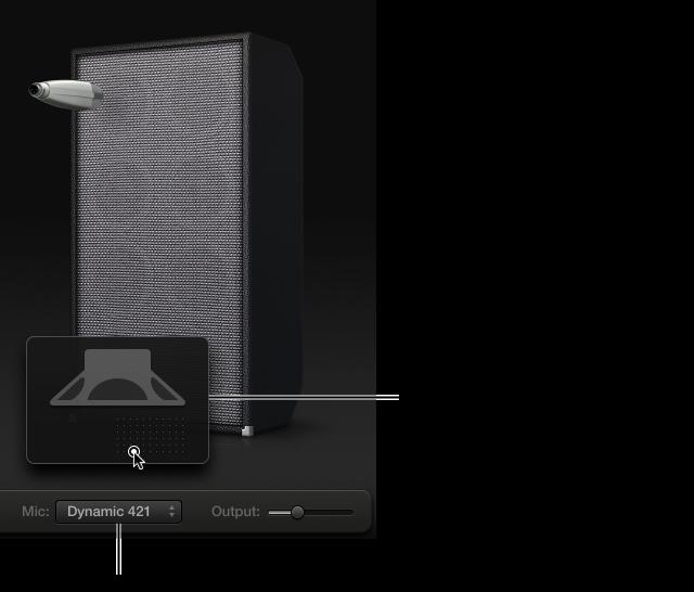 Ilustración. Área de la caja de Bass Amp Designer en la que se ve el menú Mic y la parrilla de colocación del micrófono.