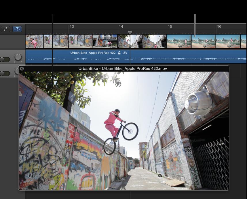 Ilustración. Ventana Vídeo flotante y pista con audio de la película.