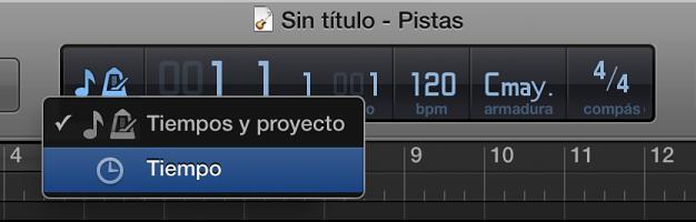 Ilustración. LCD en la barra de control, mostrando el formato de Tiempo