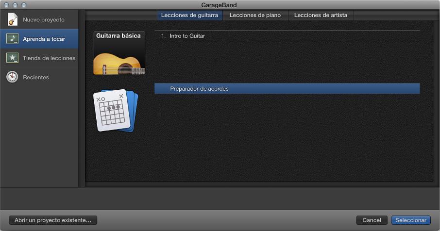 Ilustración. Selector de proyectos, donde se selecciona el Preparador de acordes