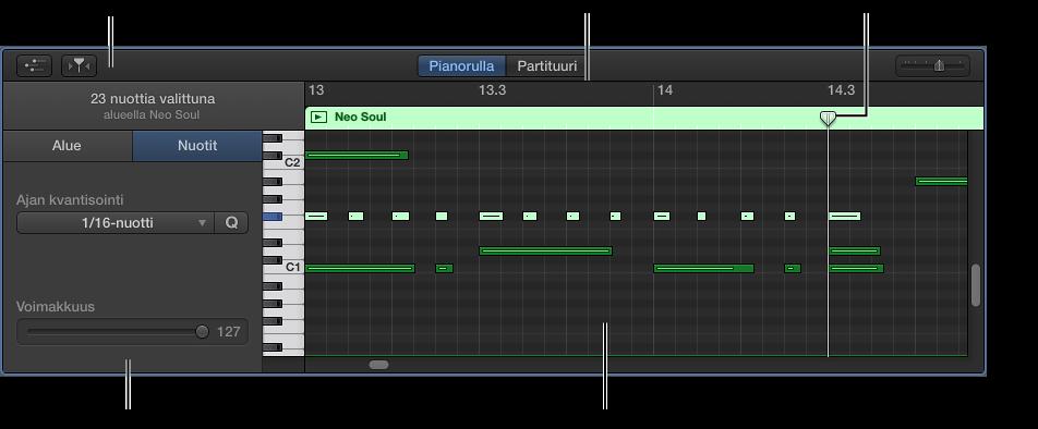Kuva. Pianorullaeditori, joka osoittaa MIDI-nuottitapahtumaa.