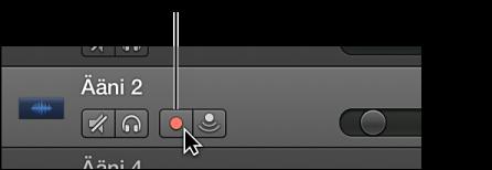 Kuva. Raidan otsake, jossa näkyy Äänitys käytössä -painike