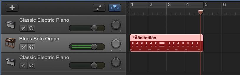 Kuva. Äänitetyn MIDI-alueen näkyminen punaisena Raidat-alueella.