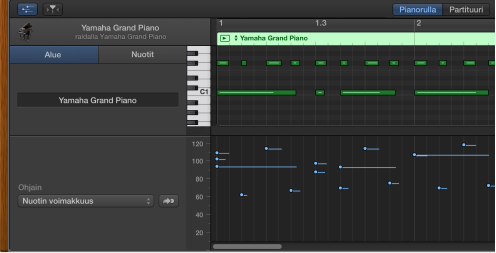 Kuva. Pianorullaeditorin MIDI Draw -alue