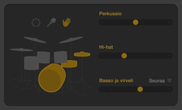 Kuva. Drummer-editori, jossa näkyy akustisen kuviovariaation säätimiä