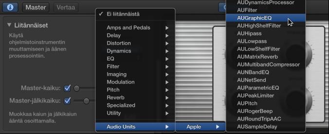 Kuva. Audio Units -liitännäisen valitseminen Smart Control -inspektorin Audio Units -ponnahdusvalikosta
