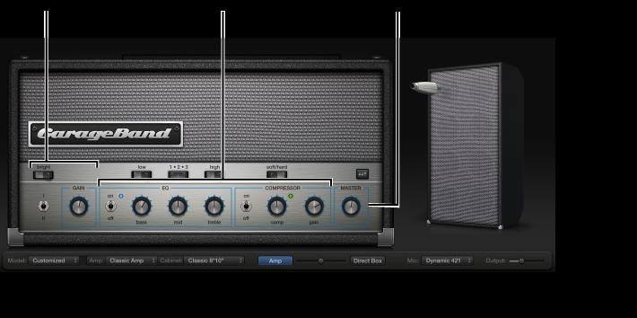 Kuva. Bass Amp Designer -ikkuna, jossa näkyy eri säädinalueet.