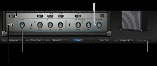 Kuva. Bass Amp Designerin vahvistinsäätimet, mukaan lukien Kirkkaus-kytkin, Vahvistus-nuppu, Kanava I/II -kytkin ja Master-nuppi.