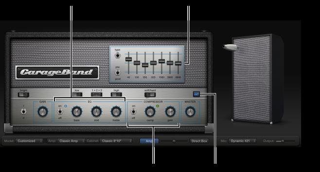 Kuva. Bass Amp Designer, jossa näkyvät taajuuskorjain- ja kompressorisäätimet