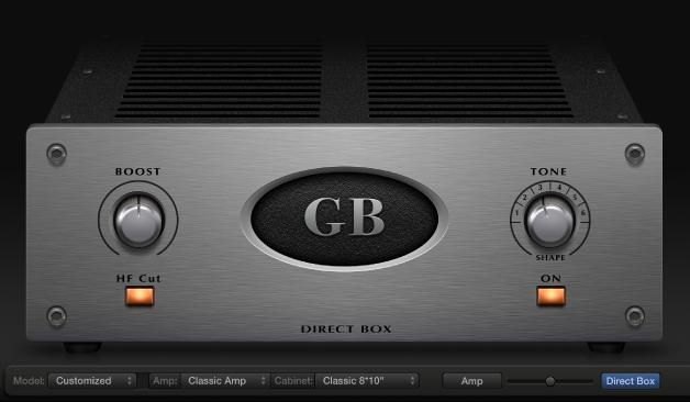 Kuva. Bass Amp Designer, jossa näkyvät DI-boksin säätimet