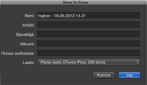 Kuva. Jaa iTunesiin -valintaikkuna