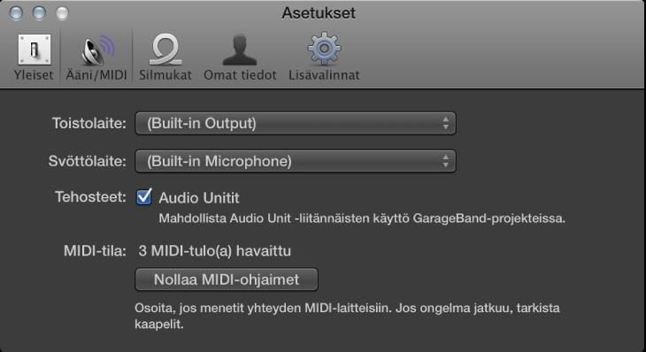 Kuva. Ääni/MIDI-asetukset.