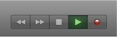 Figure. Boutons de transport avec le bouton Lecture sélectionné.