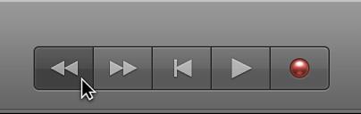Figure. Boutons de transport avec bouton Rembobinage sélectionné.