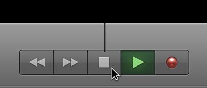 Figure. Boutons de transport avec bouton Stop sélectionné.