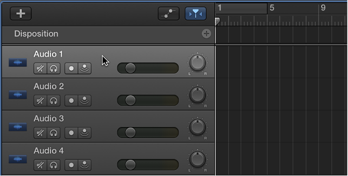 Figure. Sélection de l'en-tête d'une piste audio.