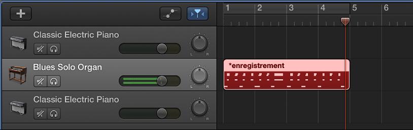 Figure. Région MIDI enregistrée apparaissant en rouge dans la zone Pistes.