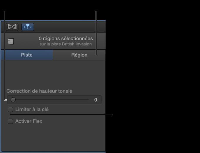 Figure. Curseur Correction de hauteur tonale et case Limiter à la tonalité dans l'inspecteur de l'éditeur audio en mode Piste