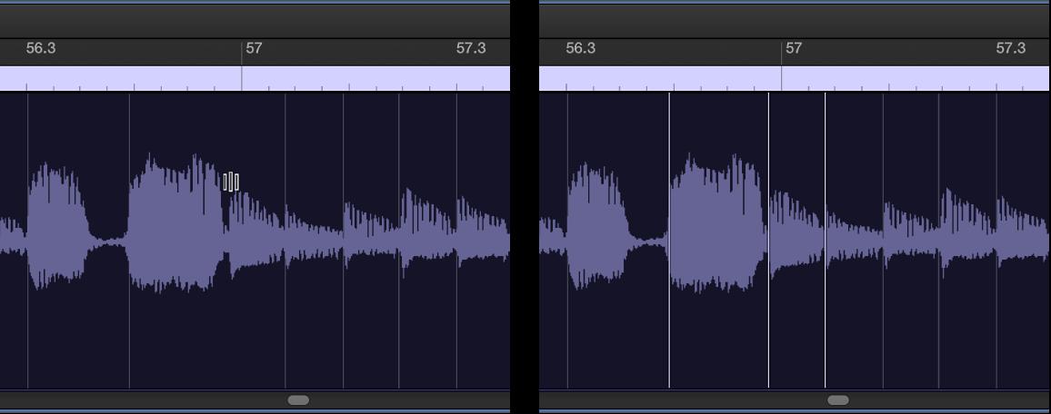 Figure. Région audio illustrant la création d'un marqueur Flex sur un marqueur d'élément transitoire.