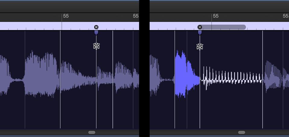 Figure. Deux régions audio montrant la région avant et après le déplacement d'un marqueur Flex vers la gauche et chevauchant le marqueur Flex précédent.