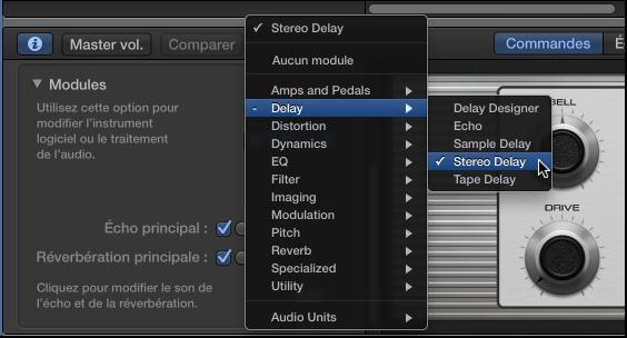 Figure. Choisissez un module d'effet dans le menu contextuel Module.