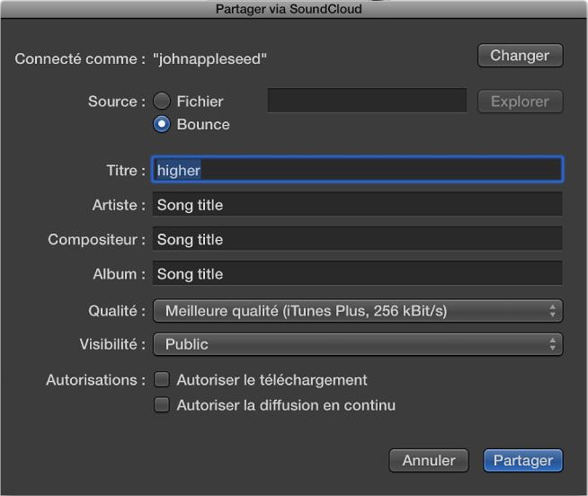 Figure. Zone de dialogue Partager via SoundCloud.