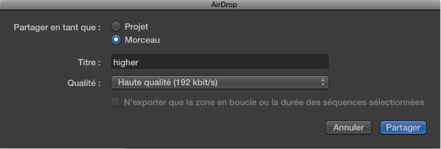Figure. Zone de dialogue AirDrop.