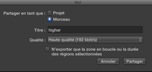 Figure. Zone de dialogue MailDrop.