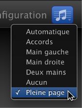 Figure. Sélection de l'option Pleine page dans le menu local Notation