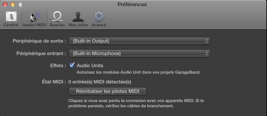 Figure. Préférences Audio/MIDI.