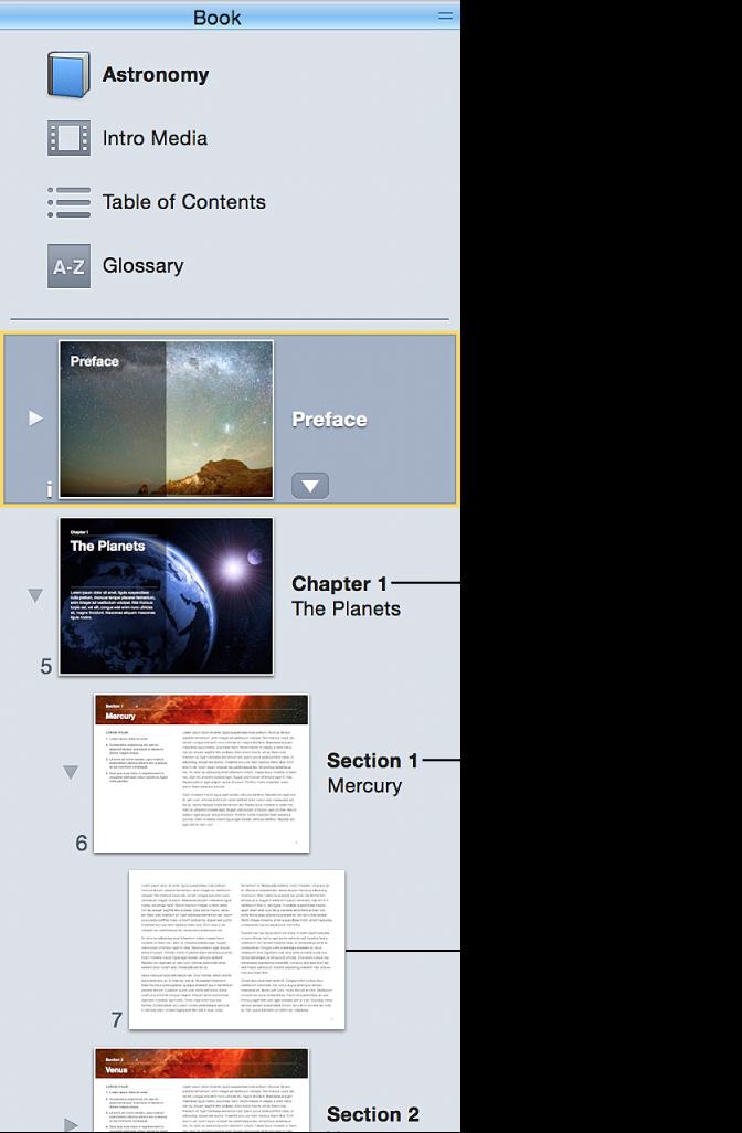 Kapitler, sektioner og sider i vinduet Bog i indholdsoversigten.