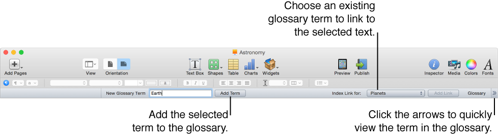 Glossary toolbar