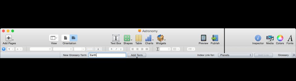 Glossary toolbar