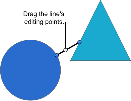 Objects connected by a line with editing points