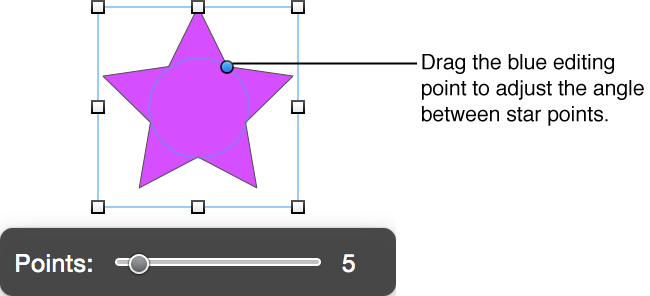 Editing point on a star shape