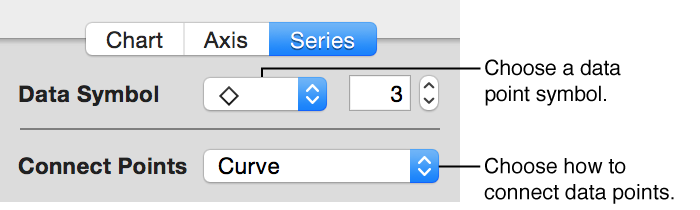 Data point controls in Series pane of Chart inspector
